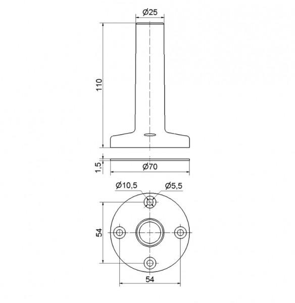 Fuß mit integriertem Rohr BK