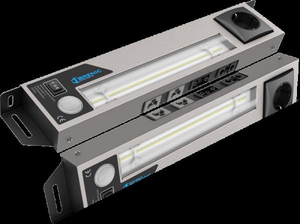 """LED Schaltschrankleuchte 230VAC, Steckdose """"TYP F"""" und Anschluß für Türpositionsschalter"""
