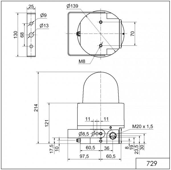Ex-LED-Dauerleuchte WM 24VDC YE