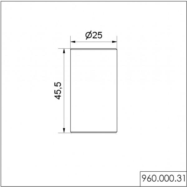 Rohr D25mm 45mm lang BK