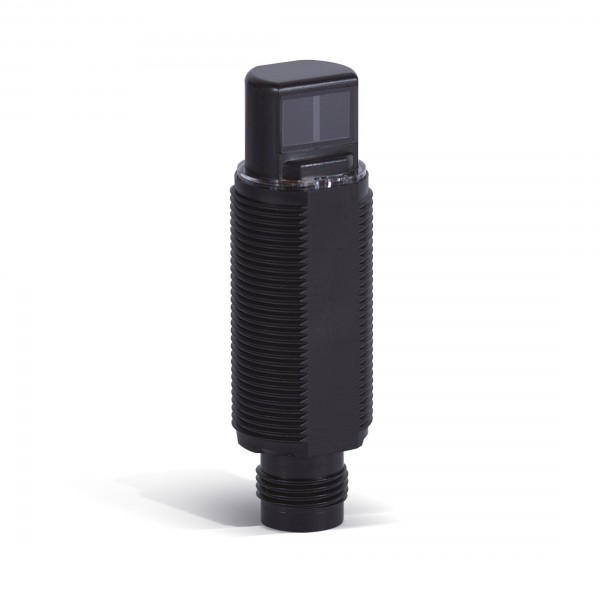 Fotoelektrischer Sensor, M18, radial, Kunststoffgehäuse, rote LED, diffus, 700 mm, PNP, L-EIN/D-EIN